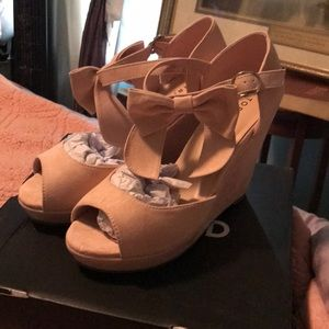 Torrid blush ankle bow faux suede wedge heels